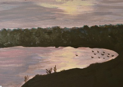 Dawn on the Missouri Lake (acrylic)